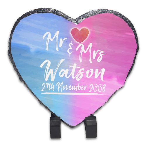 Personalised Mr & Mrs Anniversary - Paint Brush Rock Slate Photo Frame/Heart..